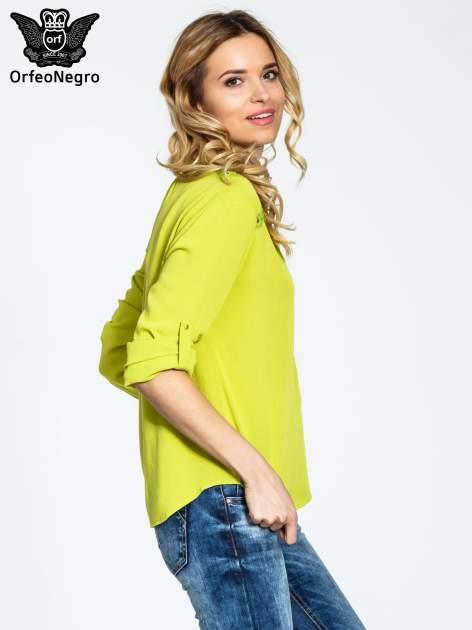Zielona koszula z ażurowaniem na górze                                  zdj.                                  5