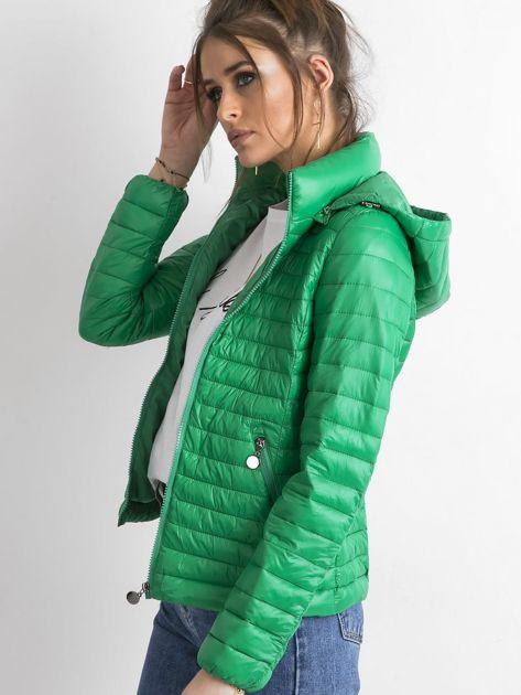 Zielona kurtka przejściowa z kapturem                              zdj.                              3