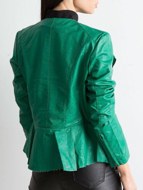 Zielona kurtka ze skóry ekologicznej                              zdj.                              2