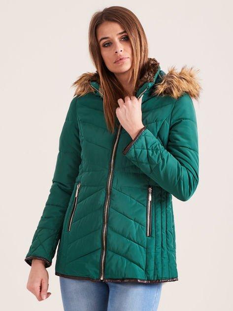 Zielona kurtka zimowa z futrzanym kapturem i kołnierzem                                  zdj.                                  5