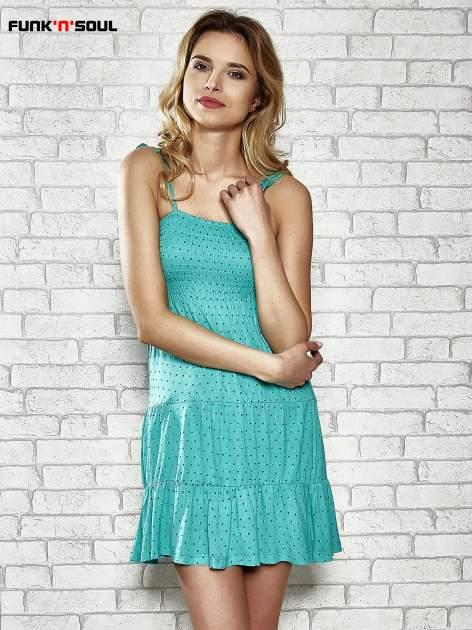 Zielona letnia sukienka w groszki Funk n Soul                                  zdj.                                  1