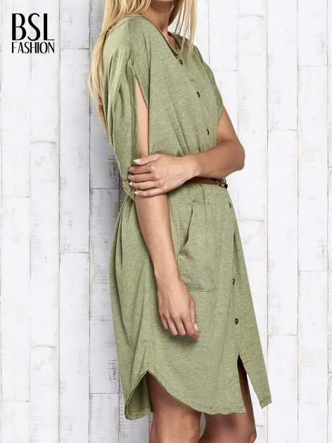 Zielona melanżowa sukienka oversize z guzikami                                  zdj.                                  4