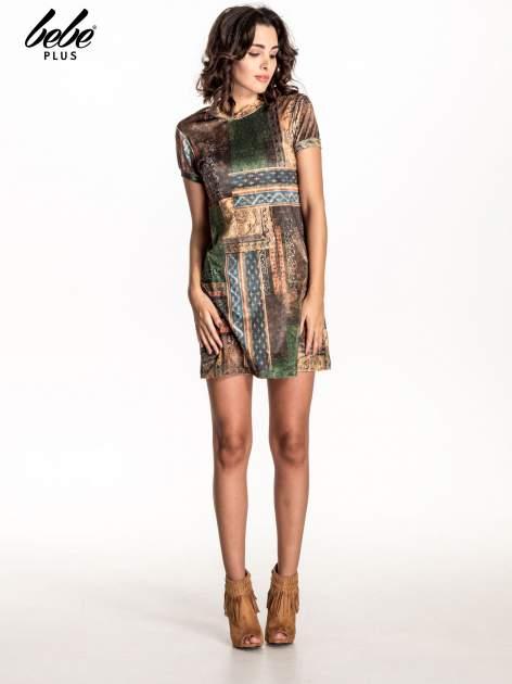 Zielona mini sukienka w patchworkowy wzór                                  zdj.                                  7