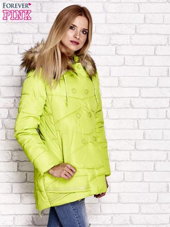 Zielona ocieplana kurtka z guzikami i suwakami                                  zdj.                                  3