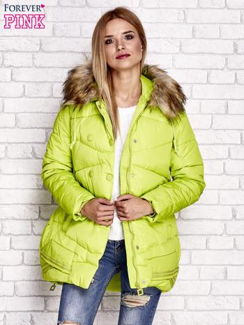 Zielona ocieplana kurtka z guzikami i suwakami                                  zdj.                                  4