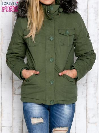 Zielona ocieplana kurtka z suwakami                                  zdj.                                  1