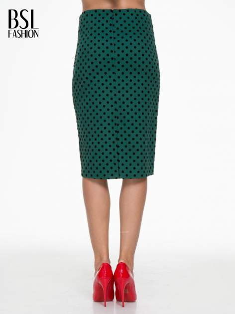 Zielona ołówkowa spódnica w groszki                                  zdj.                                  4