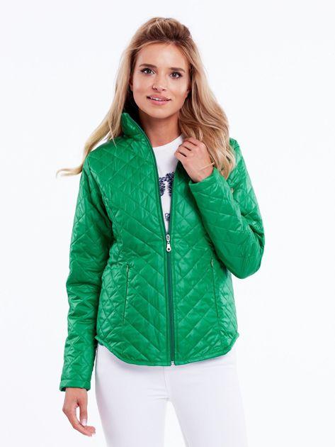 Zielona pikowana kurtka przejściowa