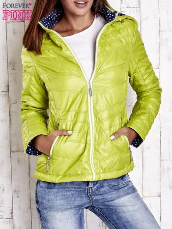 Zielona pikowana kurtka z wykończeniem w groszki                                  zdj.                                  1