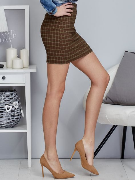 Zielona spódnica mini we wzór kratki                                  zdj.                                  5