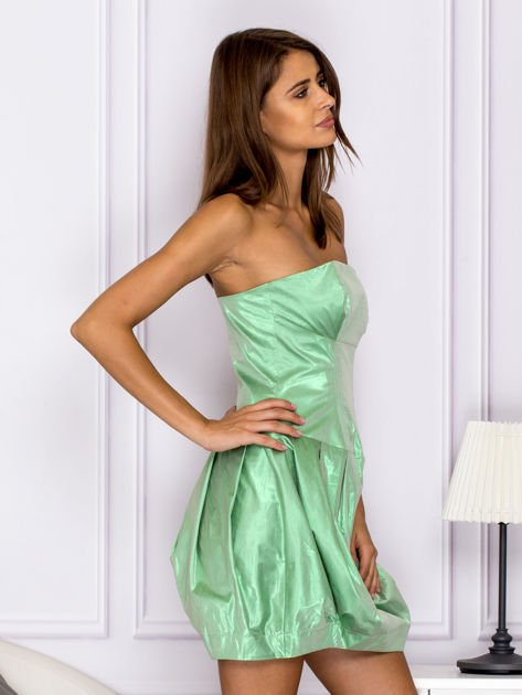 Zielona sukienka bombka z połyskiem                              zdj.                              3
