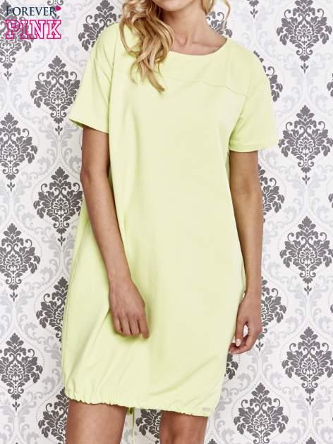 Zielona sukienka dresowa ze ściągaczem na dole                                  zdj.                                  1