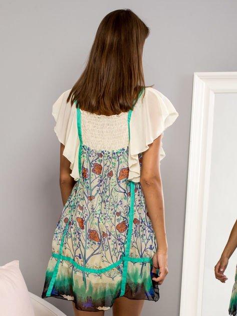Zielona sukienka letnia mgiełka w kwiaty                                  zdj.                                  2