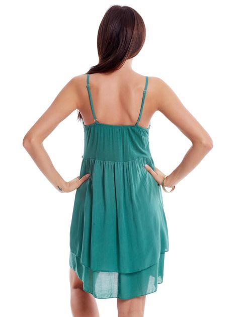 Zielona sukienka na cienkich ramiączkach                              zdj.                              2