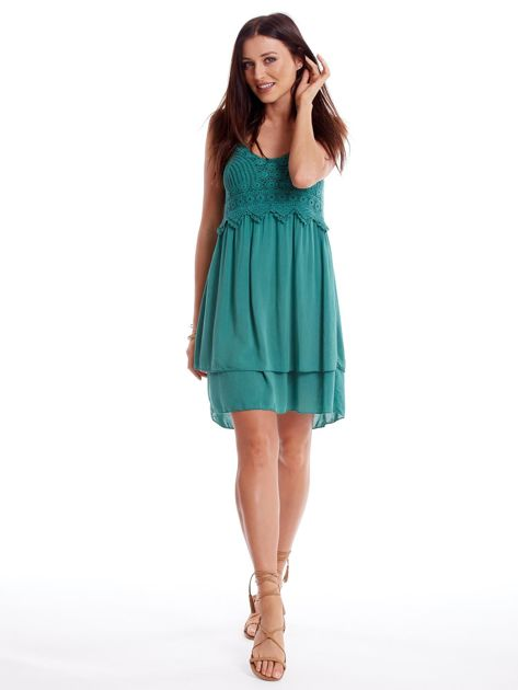 Zielona sukienka na cienkich ramiączkach                              zdj.                              4
