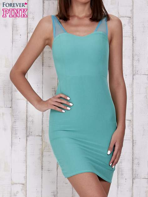 Zielona sukienka tuba z tiulowymi ramiączkami                                  zdj.                                  1