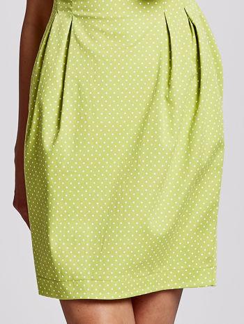 Zielona sukienka w groszki z zakładkami                                  zdj.                                  5