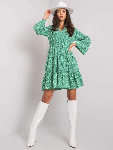 Zielona sukienka w kwiatki Daleyza