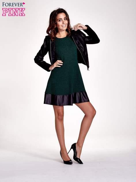 Zielona sukienka z czarną falbaną                                  zdj.                                  5