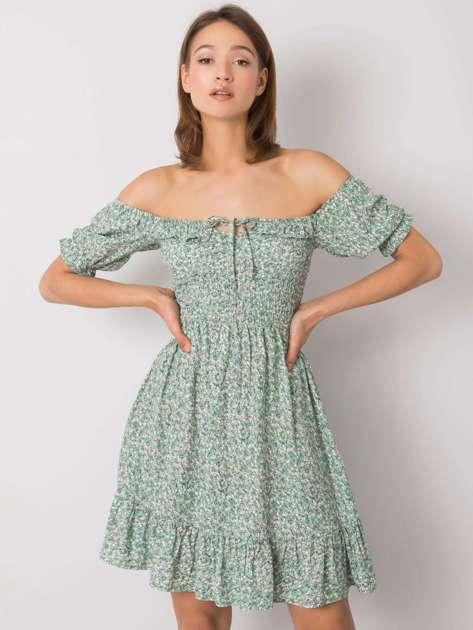 Zielona sukienka z falbaną Marceline RUE PARIS