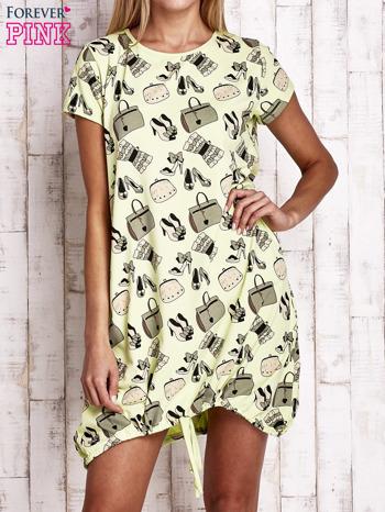 Zielona sukienka z kobiecym nadrukiem                                  zdj.                                  1