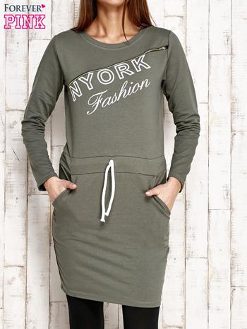 Zielona sukienka z wiązaniem                                   zdj.                                  1