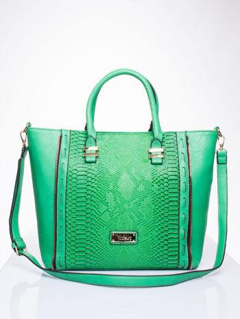 Zielona torba shopper bag z wzorem skóry węża                                  zdj.                                  1