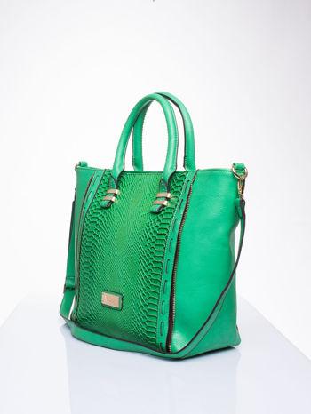 Zielona torba shopper bag z wzorem skóry węża                                  zdj.                                  3