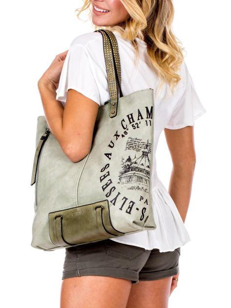 Zielona torba z nadrukiem                               zdj.                              5