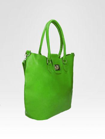 Zielona torebka city bag z zatrzaskiem                                  zdj.                                  5
