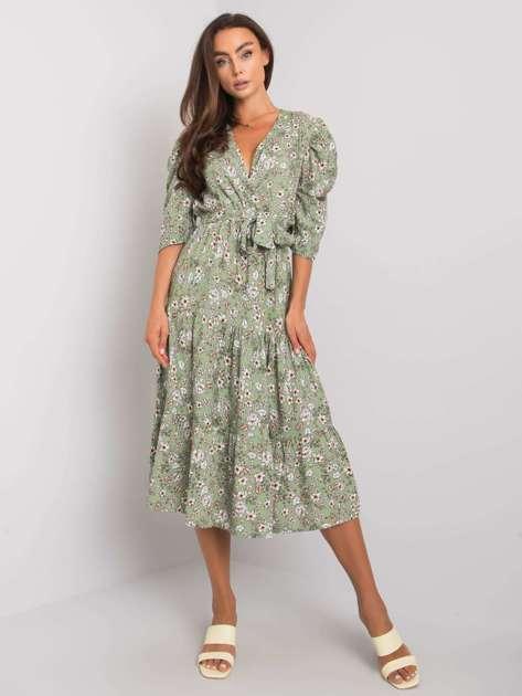 Zielona wzorzysta sukienka z wiązaniem Kambree RUE PARIS