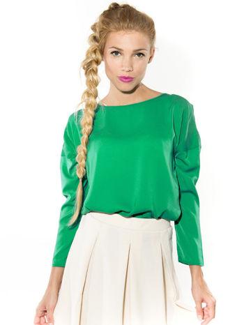 Zielona zwiewna koszula z łódkowym dekoltem                                  zdj.                                  1