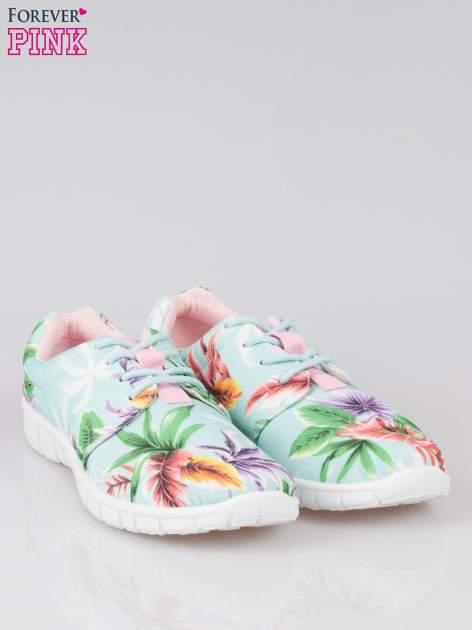 Zielone buty sportowe textile Tropicana w exotic print na podeszwie flex                                  zdj.                                  2