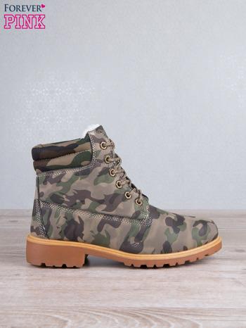 Zielone buty trekkingowe damskie traperki ocieplane                                  zdj.                                  1