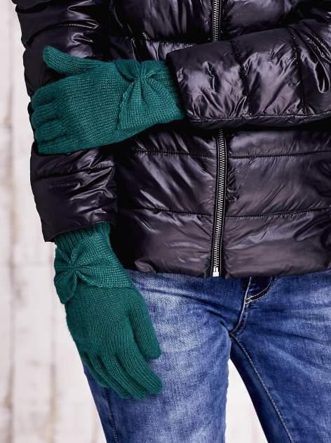 Zielone długie rękawiczki z kokardą i prążkowanym ściągaczem                                  zdj.                                  3