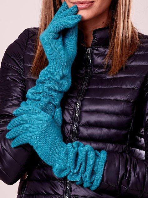 Zielone długie rękawiczki z marszczonym ściągaczem                                   zdj.                                  1