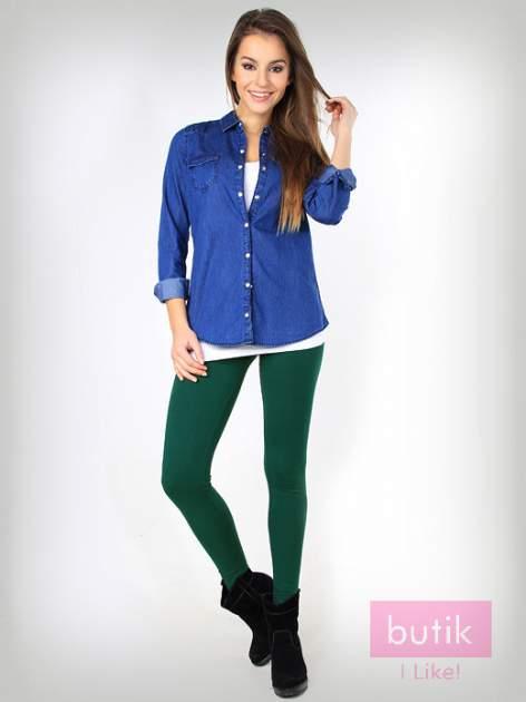 Zielone gładkie legginsy bawełniane