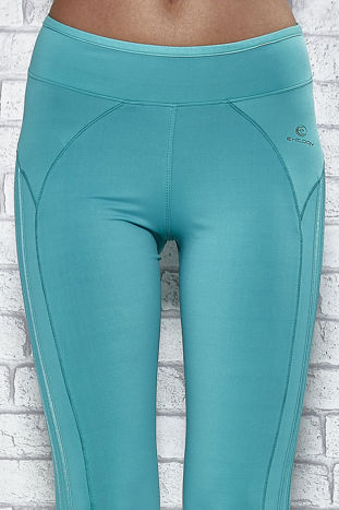 Zielone legginsy 3/4 sportowe termalne z lampasami                                  zdj.                                  4