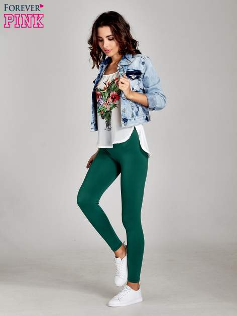 Zielone legginsy basic z lekkim ociepleniem                                  zdj.                                  2