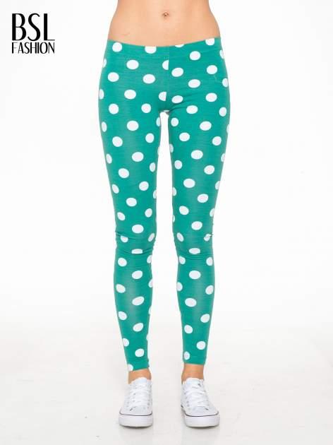 Zielone legginsy w grochy