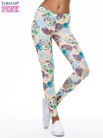 Zielone legginsy z kwiatowymi motywami                                  zdj.                                  1