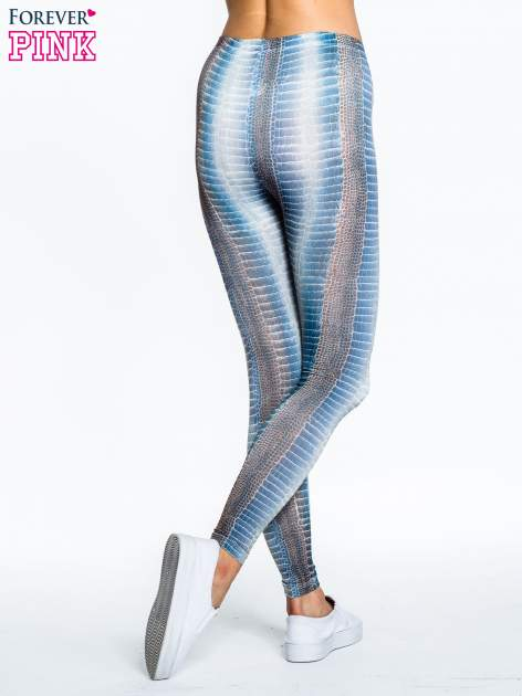 Zielone legginsy z nadrukiem skóry węża                                  zdj.                                  2