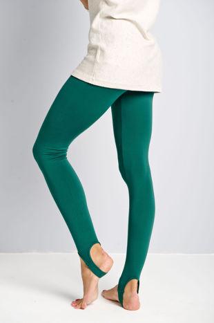 Zielone legginsy zakładane na stopę                                  zdj.                                  2