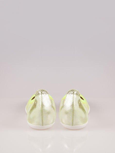 Zielone metaliczne baleriny Gleamy z efektem skóry jaszczurki                                  zdj.                                  3