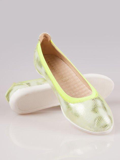 Zielone metaliczne baleriny Gleamy z efektem skóry jaszczurki                                  zdj.                                  4