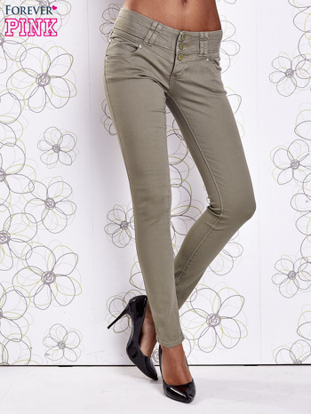 Zielone strechowe spodnie skinny z kieszeniami