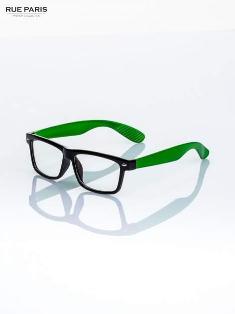 Zielono-czarne okulary zerówki kujonki typu WAYFARER NERDY-z soczewką ANTYREFLEKSYJNĄ                                  zdj.                                  2