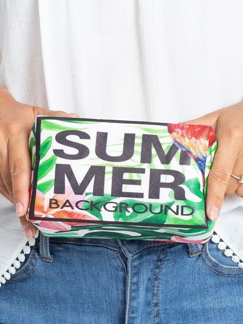 Zielono-różowa torba z egzotycznym nadrukiem                              zdj.                              4