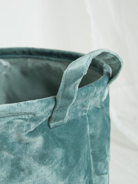 Zielony aksamitny kosz do przechowywania                              zdj.                              2