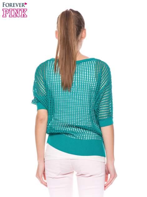 Zielony ażurowy sweter oversize                                  zdj.                                  4